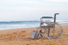 Beach wheelchair royalty free stock photo