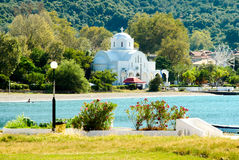 beach and white church stock photography