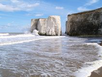 Beach with white rock, England stock image