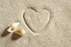 Beach white sand heart shape print summer vacation Royalty Free Stock Image