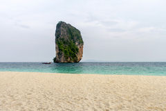 Beach  and white sand with light fog in the morning at koh Poda, Royalty Free Stock Images