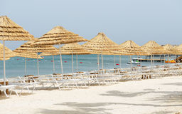 The beach with white sand at luxury hotel Royalty Free Stock Image