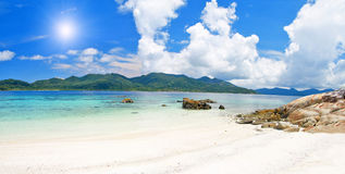 Beach with white sand and sea Royalty Free Stock Photo