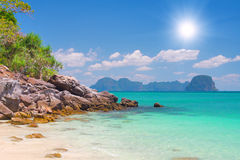Beach with white sand and tropical sea Royalty Free Stock Photo