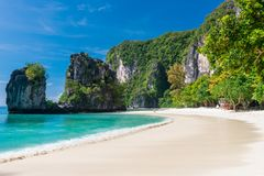 Beach with white sand, turquoise sea. Beautiful view of the island of Hong, Thailand Stock Photography