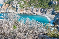 Beach with white sand and turquoise water. Beach tropical with white sand and turquoise wate Skiathos Island. Tourist, destination. 2018 stock photography