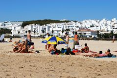 Beach and white town, Conil de la Frontera. Royalty Free Stock Photos