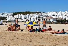Beach and white town, Conil de la Frontera. Royalty Free Stock Photos