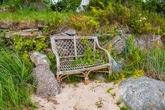 Beach wicker bench at beach near Kasmu, Lahemaa national park, Estonia stock photo
