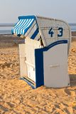 Beach wicker chair strandkorb in Northern Germany. North sea royalty free stock photography
