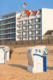 Beach wicker chairs strandkorb in Northern Germany Royalty Free Stock Photos