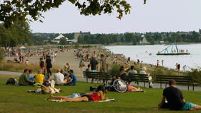 Beach wide shot of people on the beach stock footage