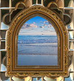Beach through the window Royalty Free Stock Image