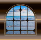 Beach through the window Royalty Free Stock Images