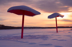 Beach in the winter. On a sunset Royalty Free Stock Photos