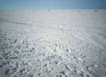 Beach in winter in Siberia. Snow and ice on the sea Royalty Free Stock Images