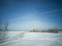 Beach in winter in Siberia. Snow and ice on the sea to the shore Royalty Free Stock Photo