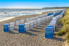 Free Beach With Beach Chairs In A Row In Zinnowitz, Usedom Royalty Free Stock Image - 111172686