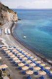 Beach With Sunshade Umbrellas Stock Photo