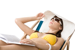 Beach - Woman in bikini lying sunbathing Stock Photography