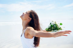 Beach woman carefree Stock Photography