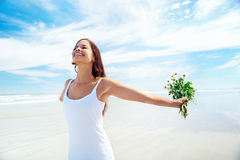 Beach woman carefree Royalty Free Stock Photos