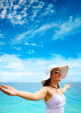 Beach woman enjoying freedom Royalty Free Stock Photography