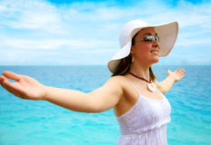 Beach woman enjoying freedom Royalty Free Stock Images