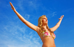 Beach woman freedom Stock Images