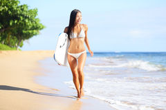 Beach woman fun with body surfboard Stock Photos
