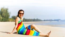 Beach woman funky happy Stock Photo