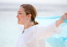 Beach woman with a sarong Royalty Free Stock Photography