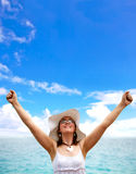 Beach woman success Royalty Free Stock Photo
