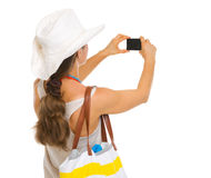 Free Beach Woman Taking Photo With Camera. Rear View Stock Photography - 30645492