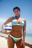 Beach woman with volleyball Royalty Free Stock Images