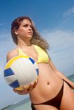 Beach woman with volleyball Royalty Free Stock Photos