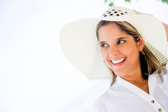 Beach woman wearing a hat Royalty Free Stock Images