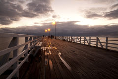 Beach wood bridge Stock Photography