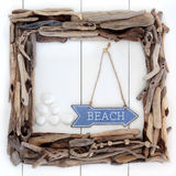 Beach Wood Frame Stock Photography