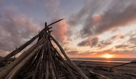 Beach Wood Stack. Dirft wood stack up at a beach with a sunset sky behind it royalty free stock photo