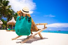 Beach wooden chair for vacations on tropical beach Royalty Free Stock Photos