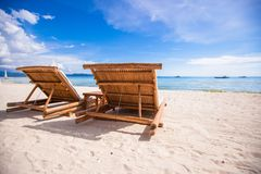 Beach wooden chairs for vacations and summer Stock Photo
