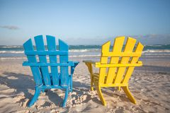 Beach wooden chairs for vacations and summer Royalty Free Stock Images