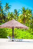 Beach wooden chairs for vacations on tropical Stock Images