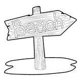 Beach wooden direction sign icon Royalty Free Stock Photography