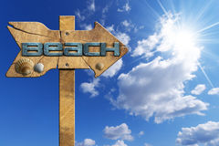 Beach - Wooden Directional Sign Royalty Free Stock Photos