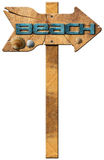 Beach - Wooden Directional Sign Stock Photo
