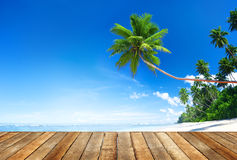 Beach and wooden plank floor Stock Image