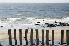 Beach with wooden poles. On the foreground Royalty Free Stock Photo