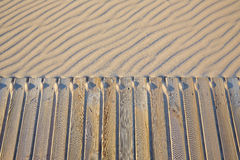 Beach wooden walkway and sand dunes texture Royalty Free Stock Images